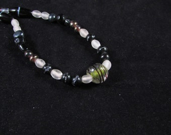 Unique black and white hand beaded necklace, hand beaded black and white necklace