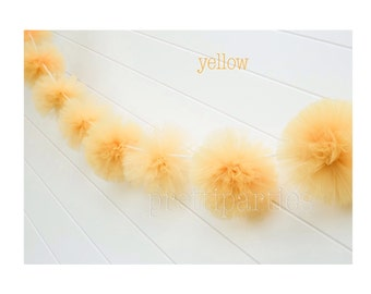 Yellow tulle garland Party decorations, weddings, baby showers, room decor