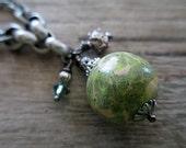 Green Bead Necklace Beaded Jewelry Handmade Beads Short Boho Silver Charm Lariat