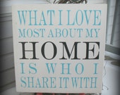 What I Love About My Home - 18 x 18 inch --  Painted Wooden  Subway Typography sign
