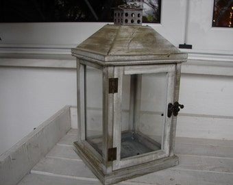 very old,wood,glass & tin lantern-shabby chic lantern from French flea market