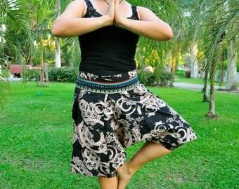 Thai Tribe Pants, Cotton, Black with eye-catching print