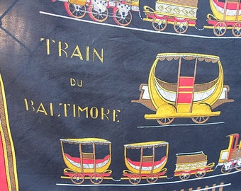 Railroad Vintage Silk Scarf Ohio 1832 Train Du Baltimore Historical Accessory in Black Gold and Red with Forward Rolled Hem Rare