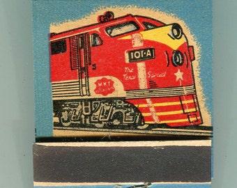 MKT Railroad Matchbook Missouri Kansas Texas Lines 1947 MINT Large Diesel Blue Diamond Match Rare Full Book