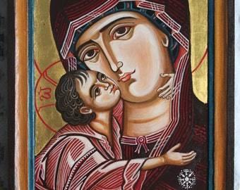 Mother of God with The Child Jesus. Byzantine icon handpainted.