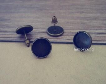 10pcs 12mm Antique Bronze (copper) Stud Earrings Base