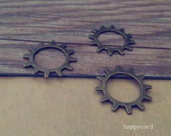 30pcs Antique bronze gear pendant charm 22mm