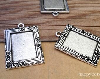 10pcs  Antique silver square Pendant tray Base 18mmx25mm