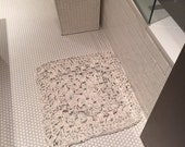 """Hand made square crochet rug/ recycle bathroom rug / Organic crochet floor mat / 24"""" square handmade crochet rug/mat/bathroom rug"""