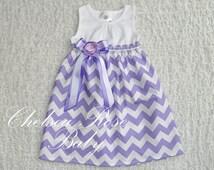 Gorgeous Lavender Chevron Baby and Toddler Dress, Flower Girl Dress, Designer Summer Dress, Girls Dress, Girls Easter Dress, Riley Blake