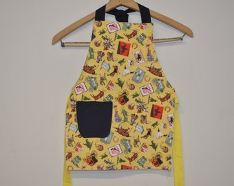 Little Boy Aprons,  Cowboy Apron Ready to Ship Toddler size 3-5t Fully Lined Apron