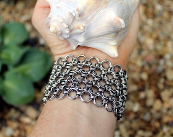 Large Japanese Lace Chainmaille Bracelet,  Metal Lace, Stainless Steel, 1.5 Inches Wide, Chain Mail