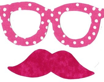 Mustache and glasses iron on appliques DIY