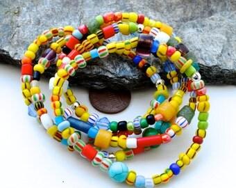 Colorful bracelets, Set of 5 Fun beaded bracelet, African jewelry, Trade beads bracelets, Ethnic bracelets, Stack bracelets