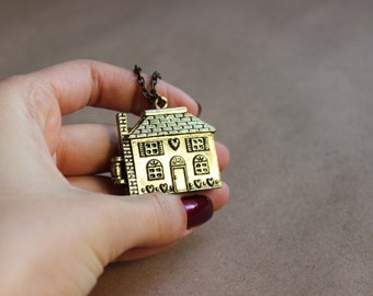 Long house necklace Cute house with open interior Kawaii house Welcome home into my heart necklace Cute charm necklace