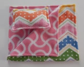 Chevron Multicolored Print Fleece Pillow and Blanket Set for American Girl and 18 Inch Dolls.