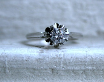 Antique Platinum Solitaire Diamond Engagement Ring - 0.50ct.