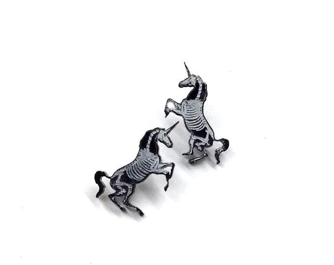 Unicorn Skeleton Earrings |  Laser Cut Jewelry | Hypoallergenic Studs