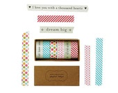 6-Pack of Washi Tape,  Stripes, Polka Dots, Love and Dreams  #38