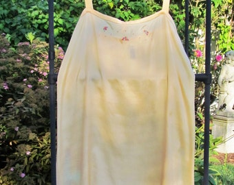 Vintage silk step in chemise, 1920's teddy, peach silk envelope chemise with embroidered flowers, small size