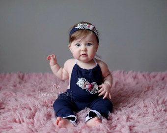 6-12 month romper, baby photo prop, little sitter photography outfit, navy blue upcycled romper