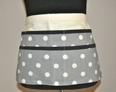 Utility Apron, Womens Vendor Apron, Teacher Apron, Carpenter Apron, polka dot apron, gray apron, grey apron, gray polka dot apron
