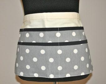 Utility Apron, Womens Vendor Apron, Teacher Apron, Carpenter Apron, polka dot apron, gray apron, grey apron, gray polka dot apron