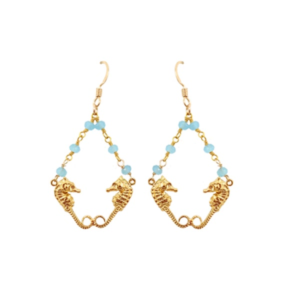 Seahorse Twin Earring 14kt Gold Filled