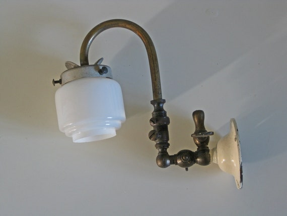 Antique Wall Mount Gas Lamp : Antique gas wall light old brass gas lamp with original glass