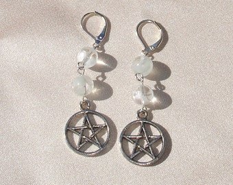 Glow in the Dark Beaded Pentagram Dangle Earrings