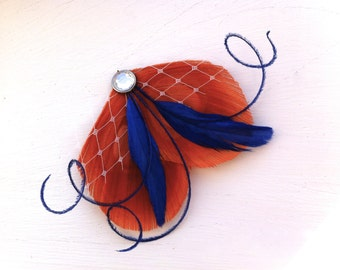 BRENDA Orange Spice, Royal Blue, and Veil Peacock Feather Hair Clip with Crystal, Feather Fascinator