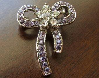 Small Lavender Rhinestone Bow Pin Brooch