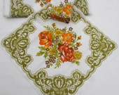 vintage table cloth and napkin set olive and orange colored.