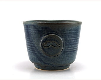 Blue Mustache Shaving Bowl, Ceramic Shave Cup, Handmade Wet Shaving Set Husband Grooming Gift for Men by MiriHardyPottery - Ready to Ship