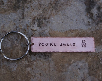 Personalized Copper Handstamped Key Chain