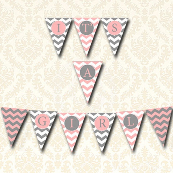 Its a girl banner pink and gray baby shower bunting for It s a girl dekoration