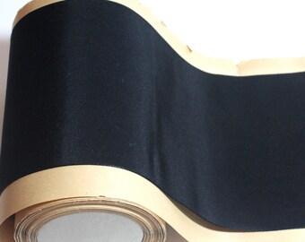"Vintage Silk & Rayon Ribbon  5 1/4"" x 1 yard Black  Beautiful"
