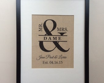 """Personalized Burlap Wedding Gift - Print 8"""" x 10"""" - MR & MRS, Family Name, Est. Date - Engagement, Shower, Wedding, Anniversary Gift"""