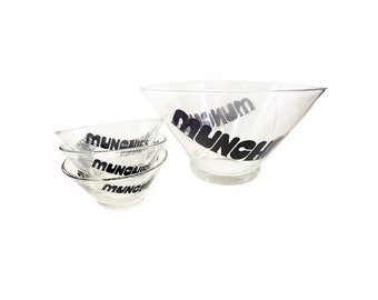 CLEARANCE Vintage Snack Bowl Set - Munchies Glass Bowl Set, Chip n Dip Serving Bowls, Mid Century Wheaton Glass, Op Art Retro Typography