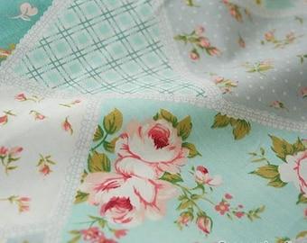 Aqua Blue Fabric Pink Flower Fabric,Shabby Chic Flower Fabric, Irregular Cotton,Pink Floral Cotton Fabric 1/2 Yard(QT427)