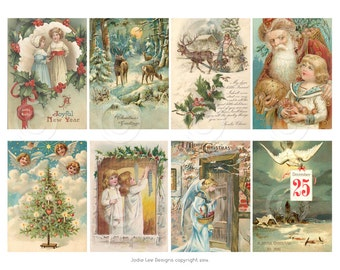Printable Vintage Victorian Christmas Cards - a digital download file