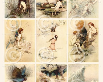 Water Babies ATC backgrounds Collage Sheet Printable Instant Digital Download File