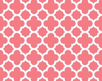 Riley Blake Cotton Coral Quatreoil fabric by the yard