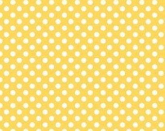Riley Blake Cotton Yellow polka dot fabric