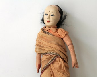 Vintage boho home decor doll / eclectic home decor / global style home decor / curiosity / tattered doll for altered art / ethnic home decor