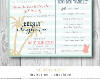 Beach Bash | Destination Bachelorette Weekend Party Invitation | Printed or Printable by Darby Cards