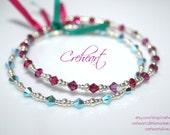DUO of Handmade Memory wire bracelets Swarovski Crystal beads, Turquoise, Fuchsia - Best friend, Birthday Gift, Anniversary - Creheart