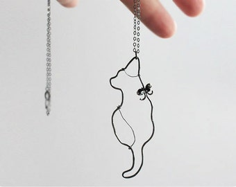 Black Cat Necklace, Oxidized Sterling Silver Cat Necklace, Crystal Necklace