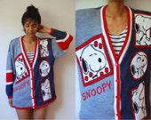Vtg  Snoopy Red White Blue Button Down Sweater