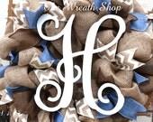 Burlap Vine Monogram Wreath in Denim, Brown, and Ivory
